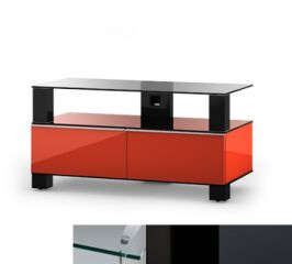 Sonorous MD9095CHBLKGRP - Meuble pour ecran Plasma/LCD en verre et bois