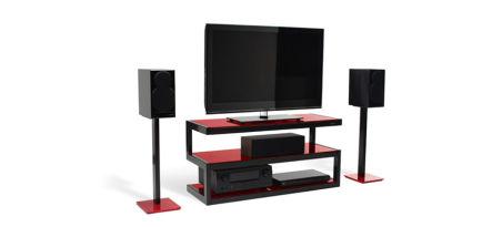 ESSE STAND Finition structure/verre: Noir / Rouge