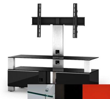 Sonorous MD8123CHBLKRED - Meuble pour ecran Plasma/LCD en verre et bois