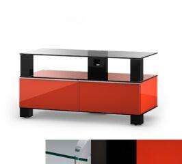 Sonorous MD9095CHBLKRED - Meuble pour ecran Plasma/LCD en verre et bois