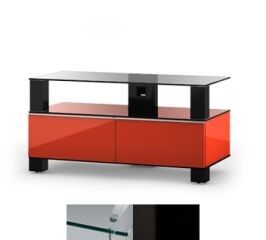 Sonorous MD9095CHBLKWHT - Meuble pour ecran Plasma/LCD en verre et bois